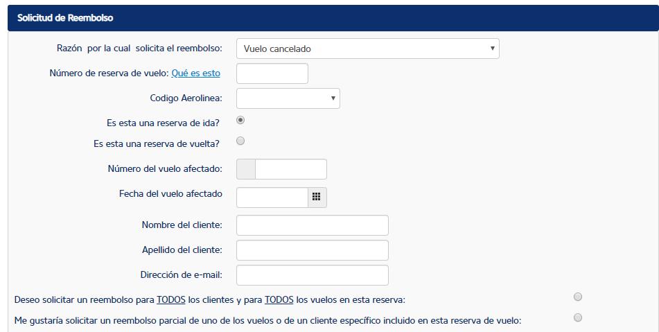Formulario de solicitud de reembolso de Ryanair.