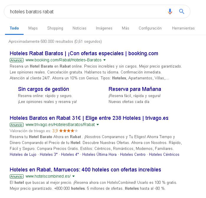 Búsqueda en Google de hoteles baratos en Rabat.