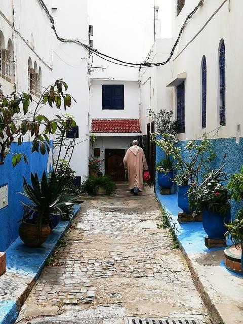 Calles azules y blancas en la Kasbah des Oudayas.