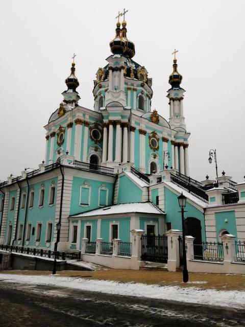 La iglesia de San Andrés es mi favorita en Kiev por su arquitectura, colores y ubicación.