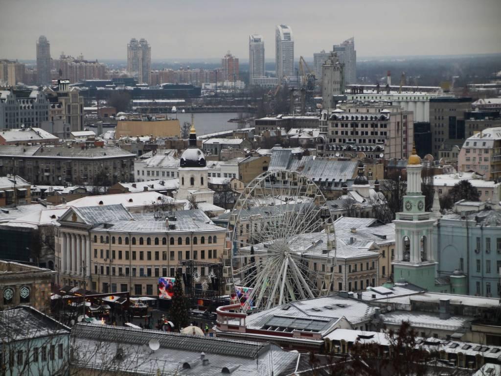 """Vistas desde el mirador del """"Montmartre"""" de Kiev o Artists Alley."""