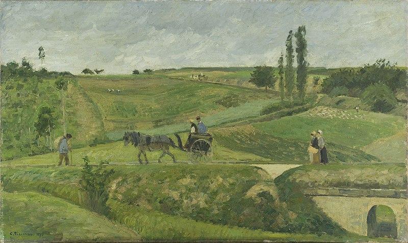 Impresionismo: 'Carretera de Ennery, cerca de Pontoise' de Camille Pissarro demuestra el gusto del pintor impresionista por los paisajes rurales.