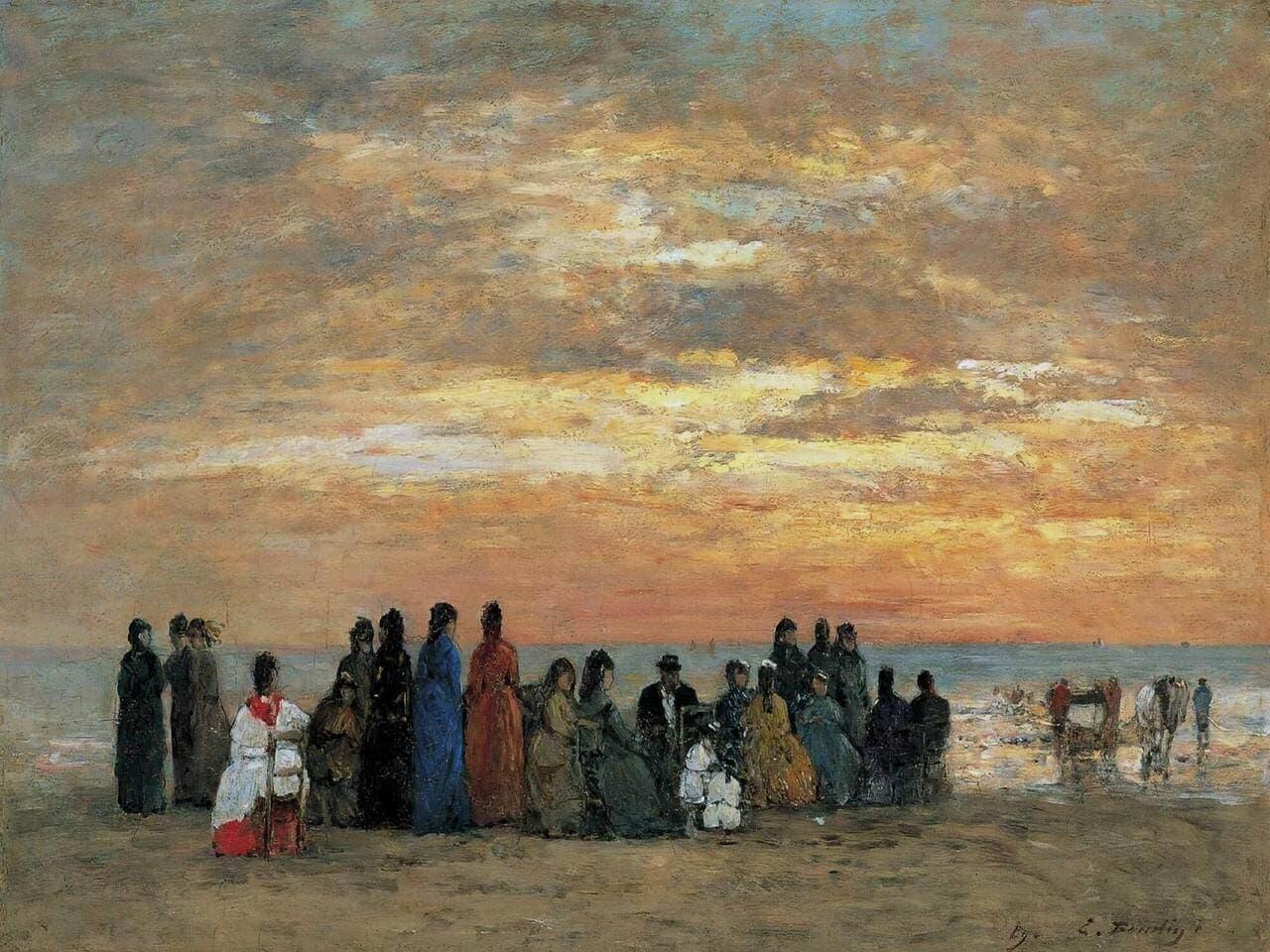 Impresionismo: 'Figuras en la playa de Trouville' de Eugène Boudin, el pintor impresionista de playas.