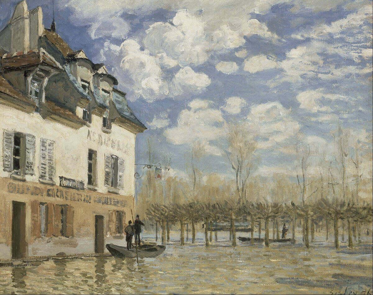 'La barca durante la inundación, Port-Marly' de Alfred Sisley donde se aprecian las pinceladas rápidas del impresionismo.