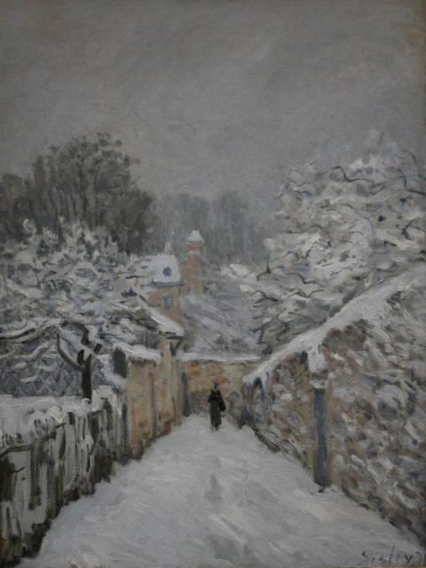 El cuadro impresionista 'La nieve en Louveciennes' de Sisley me encanta por el paisaje invernal y los colores sin mezclar típicos del impresionismo.