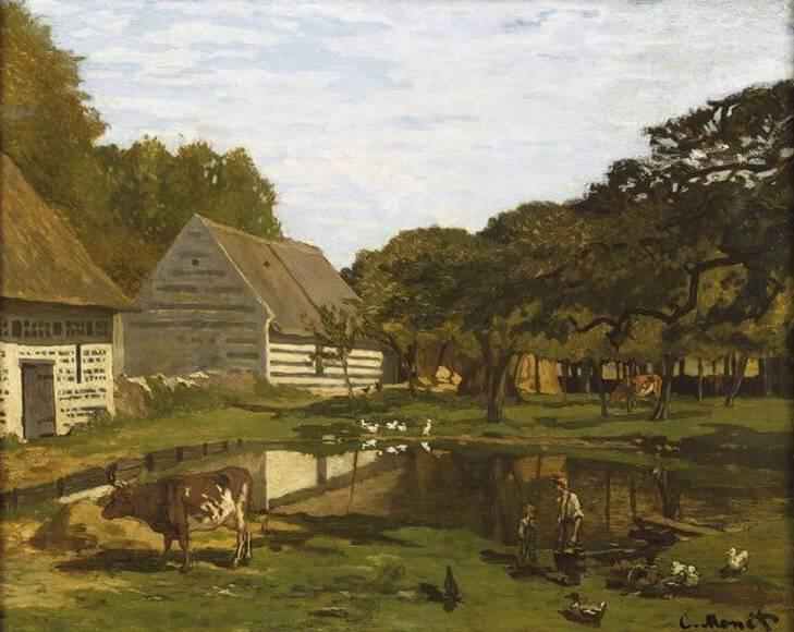 'Patio de una granja en Normandía', de Claude Monet, muestra un paisaje típico rural.