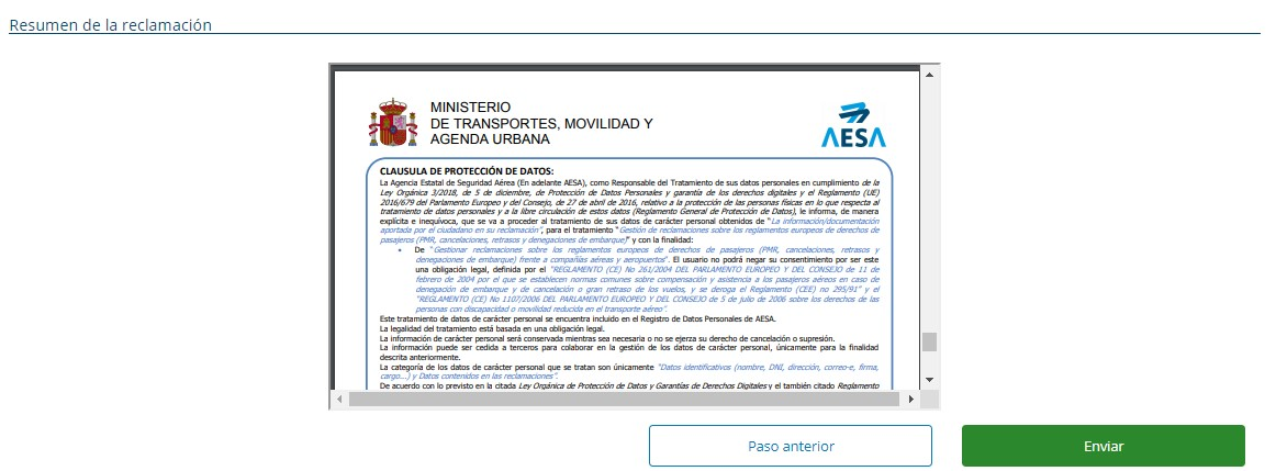 Es muy importante que revises la reclamación a AESA antes de darle al botón de enviar.