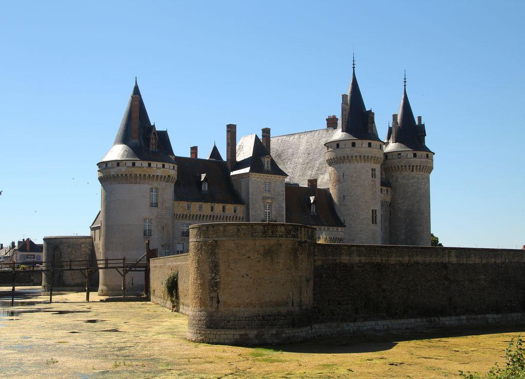Alrededor del castillo de Sully-sur-Loire hay fosos repletos de agua (con verdín).