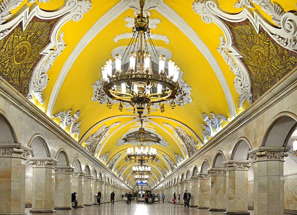 Una de las estaciones de metro de Moscú más bonitas es la de Komsomólskaya-Koltsevaya.