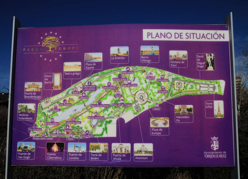 Mapa del Parque Europa de Madrid con los diferentes monumentos europeos.
