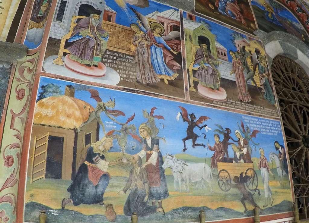 En este monasterio búlgaro también hay frescos relacionados con demonios y el infierno.